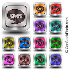 Sms aluminum glossy icons, crazy colors