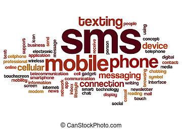 sms, begriff, wort, wolke