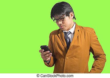 sms, beweeglijk, jonge man, mooi, writting, telefoon.