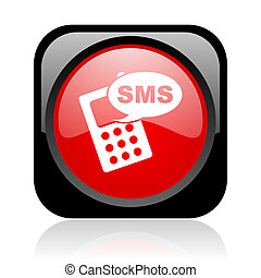 sms black and red square web glossy icon