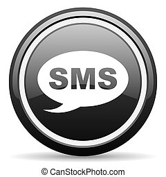 sms black glossy icon on white background