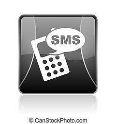 sms black square web glossy icon