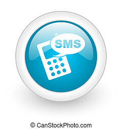 sms blue circle glossy web icon on white background