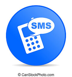 sms blue circle web glossy icon