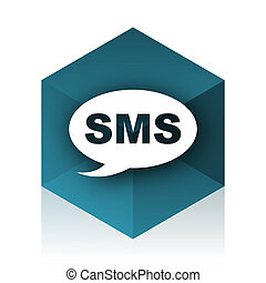 sms blue cube icon, modern design web element