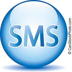 Sms blue glossy web icon
