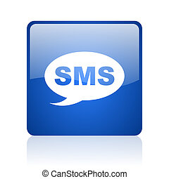 sms blue square glossy web icon on white background