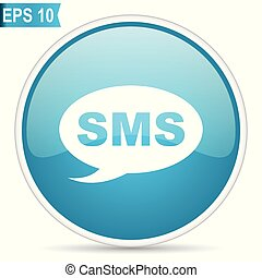 Sms blue vector icon