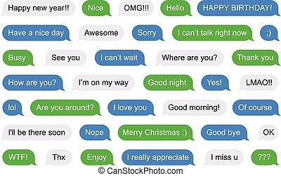 sms, bubblar, kort, meddelanden