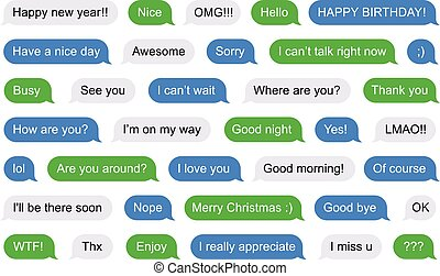SMS bubbles short messages - Illustration of SMS Flat...