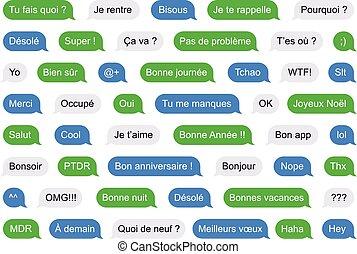 sms, burbujas, cortocircuito, mensajes, en, francés