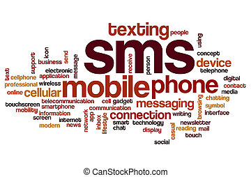sms, concepto, palabra, nube