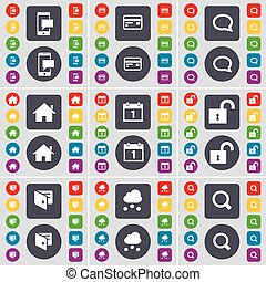 SMS, Credit card, Chat bubble, House, Calendar, Lock, Wallet, Cloud, Magnifying glass icon symbol. A large set of flat, colored buttons for your design. Vector