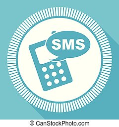 Sms flat vector icon, mobile phone square blue web button