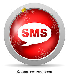 sms, glatt, bakgrund, vit jul, röd, ikon