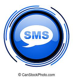 sms, glatt, blå, ikon, cirkel