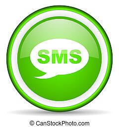sms, grön, glatt, bakgrund, vit, ikon