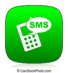 sms, grön, ikon