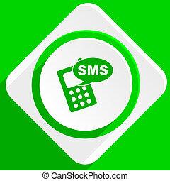 sms, grön, lägenhet, ikon