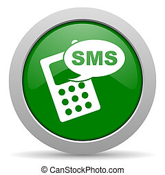 sms green glossy web icon