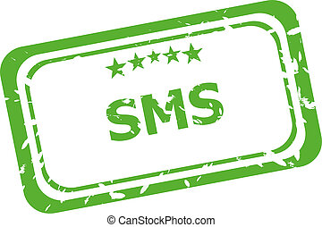sms grunge rubber stamp isolated on white background