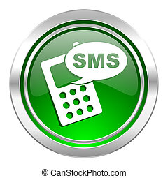 sms icon, green button, phone sign