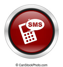 sms icon, red round button isolated on white background, web design illustration