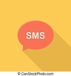 SMS icon | Set of great flat icons with style long shadow icon and use for network, communication, internet and much more.