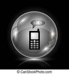 SMS icon - Shiny glossy icon - glass ball on black...