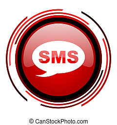 sms icon - sms red circle web glossy icon on white ...