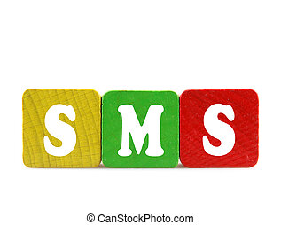 sms - isolated text in wooden building blocks