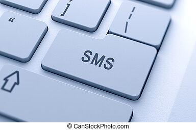 sms, knapp, dator, ord, tangentbord
