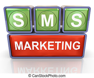 sms marketing - 3d render of buzzword sms marketing