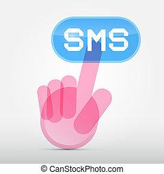 sms, media, symbol, pressande, -, hand, social, knapp, transparent, ikon