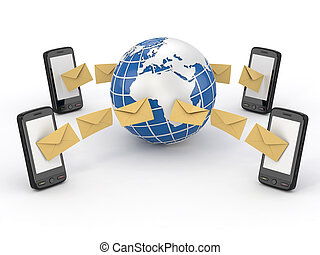 Sms messages, mobile phone and earth. SMS voting. 3d