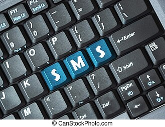 Sms on keyboard  - Blue sms key on keyboard