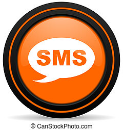 sms orange glossy web icon on white background