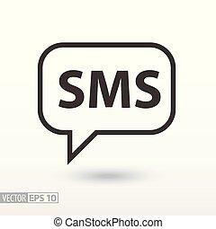 sms, płaski, icon., znak, sms wiadomość