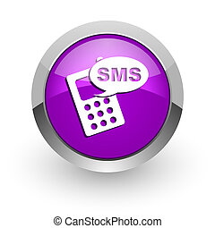 sms pink glossy web icon