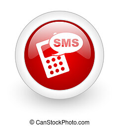 sms red circle glossy web icon on white background