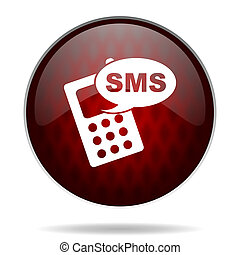 sms red glossy web icon on white background