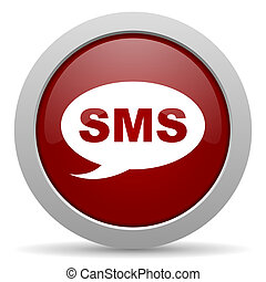 sms red glossy web icon