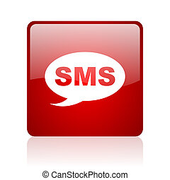 sms red square glossy web icon on white background