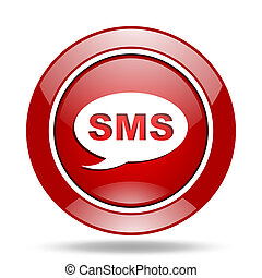 sms red web glossy round icon
