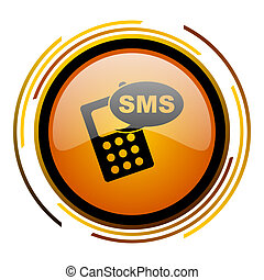 sms round design orange glossy web icon