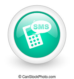 sms round glossy web icon on white background