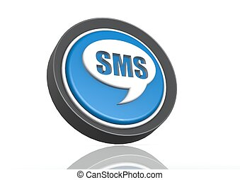 SMS round icon in blue
