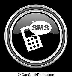 sms silver chrome metallic round web icon on black background