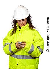sms, trabajador construcción, hembra, enviar