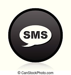Sms vector black icon. Round message sign. Web symbol.